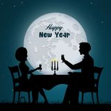 New Year dinner candlelight. Illustration of New Year dinner candlelight Stock Image