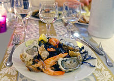 New year dinner in Evian-les-Bains in France Royalty Free Stock Photos