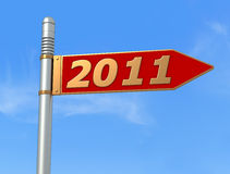 New year directional sign. Conceptual,directional sign post for the new year -rendering Stock Image