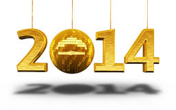 New Year 2014. And disco ball gold  and clipping path Stock Photos