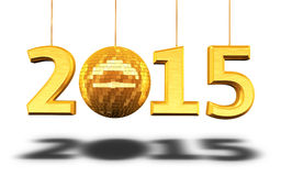 New Year 2015. And disco ball gold render (isolated on white and clipping path Stock Photography