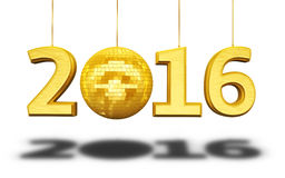 New Year 2016. And disco ball gold render (isolated on white and clipping path Royalty Free Stock Photos