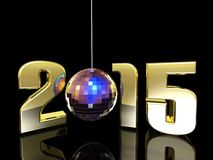 2015 New Year Disco Ball. Hanging New Year Disco Ball with reflections. Happy New Year Royalty Free Stock Photo