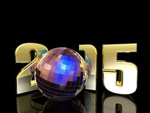 2015 New Year Disco Ball. A New Year's Disco Ball with reflections. Happy New Year Royalty Free Stock Photos