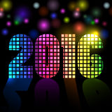New 2016 year disco colorful mosaic Stock Photos