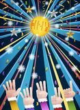 New year disco party countdown hands. Happy new year countdown disco party with hands in colorful suits counting number from five to one, under gold HNY mirror royalty free illustration