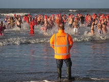 New Year Dive. In the North Sea, the Netherlands Royalty Free Stock Image