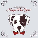 New year 2018 dog. Chinese New Year 2018 festive vector card Design with cute dog, zodiac symbol of 2018 year. Vector illustration of Chinese calendar. Vector Royalty Free Stock Images
