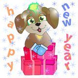 New year dog with gifts Stock Photo