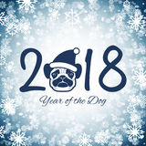 New year of the dog greeting card with cute pug, vector illustra. Tion Stock Photography