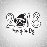 New year of the dog greeting card with cute pug, vector illustra. Tion Stock Image