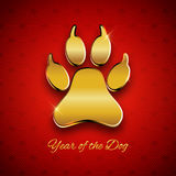 New Year of the dog holiday postcard with paw footprint, gold te vector illustration