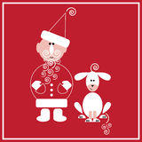 New Year of the Dog. Illustration of Santa Claus with the dog on the red background Stock Photo
