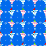 New year dog seamless pattern  animal packing cover snowflake y Stock Image