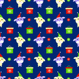 New year dog seamless pattern  animal packing cover snowflake y Stock Photography