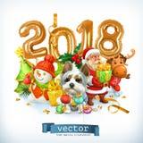 New Year, dog vector Royalty Free Stock Photos