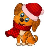NEW year 2018 doggy. Happy Dog cartoon. christmas dog with red scarf. Cute brown puppies royalty free illustration