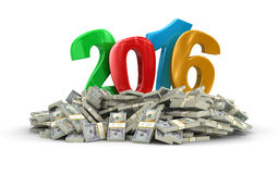 New Year 2016 and Dollars (clipping path included) Royalty Free Stock Photos