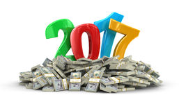 New Year 2017 and Dollars. Image with clipping path Stock Photography