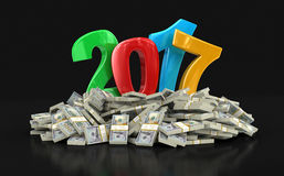 New Year 2017 and Dollars Royalty Free Stock Photos