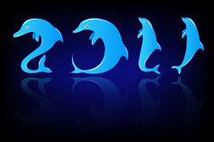 New Year in  dolphin style Royalty Free Stock Image