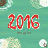 New Year doodle collection, hand drawn new year elements. Vector card with Happy New Year 2016 lettering. Background with scribbles circles Stock Images