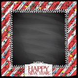 New year doodle frame on a chalkboard background, hand drawn illustration stock illustration