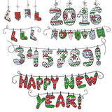New year doodle garland.Knitted numbers,socks Stock Images