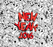 New year 2016 doodle hipster background.  Stock Image
