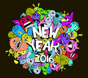 New year 2016 doodle hipster colorful background.  Royalty Free Stock Photography