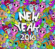 New year 2016 doodle hipster colorful background.  stock illustration