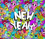 New year doodle hipster colorful background Stock Photography