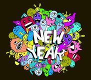 New year doodle hipster colorful background.  royalty free illustration