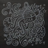 2016 New year doodles elements background. Vector. Chalkboard illustration Stock Photo