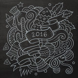 2016 New year doodles elements background. Vector. Chalkboard illustration Stock Illustration