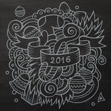 2016 New year doodles elements background. Vector. Chalkboard illustration Stock Images