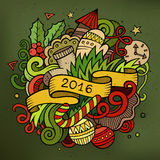 2016 New year doodles elements background. Vector colorful illustration Royalty Free Illustration