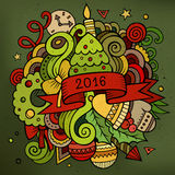 2016 New year doodles elements background.. Vector colorful illustration Royalty Free Stock Image