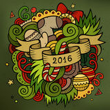 2016 New year doodles elements background. Vector. Colorful illustration Stock Photos