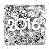 2016 New year doodles elements background. Royalty Free Stock Images