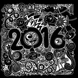 2016 New year doodles elements background. Vector illustration Stock Photos