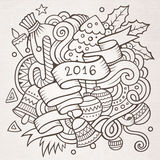 2016 New year doodles elements background. Vector sketchy illustration Stock Photos