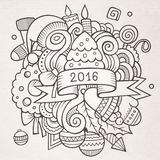 2016 New year doodles elements background. Vector sketchy illustration Stock Images