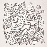 2016 New year doodles elements background. Vector sketchy illustration Stock Photography