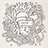 2016 New year doodles elements background. Vector sketchy illustration Royalty Free Stock Image