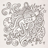 New year doodles elements background. 2016 New year doodles elements background. Vector sketchy illustration Stock Image