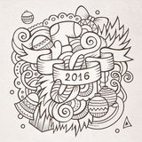 New year doodles elements background. 2016 New year doodles elements background. Vector sketchy illustration Royalty Free Stock Photography