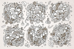 2016 New year doodles hand drawn designs set. Vector vintage illustration Stock Images