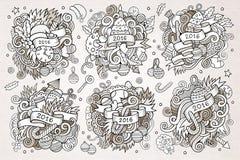 2016 New year doodles hand drawn designs set. Vector vintage illustration royalty free illustration