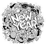 New Year doodles illustration objects and elements poster design. 2019 hand drawn doodles illustration. New Year objects and elements poster design. Creative vector illustration